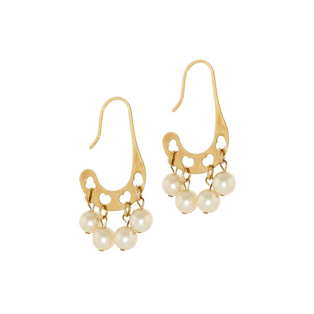 017157e6ea07 Aretes con perlas colgantes en baño de oro - Andrea