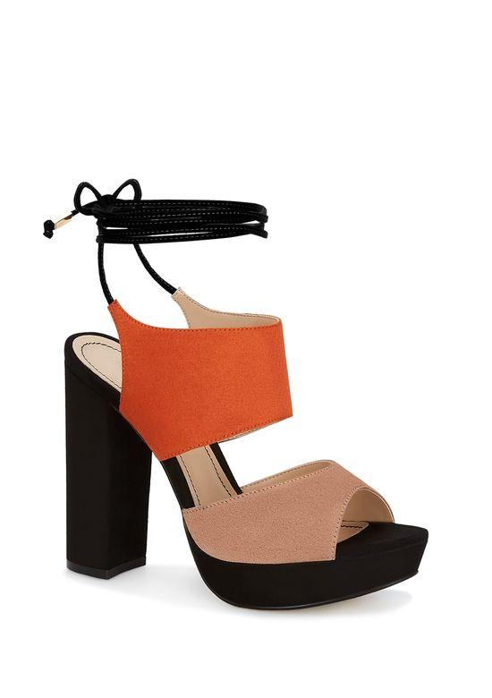 Mujer Ankle Sandalia Negro 2579023 Strap Naranja Fc5KJul3T1